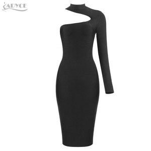 Image 4 - ADYCE 2020 New Summer Women One Shoulder Bandage Dress Celebrity Evening Party Dress Sexy Green Black Bodycon Club Dress Vestido