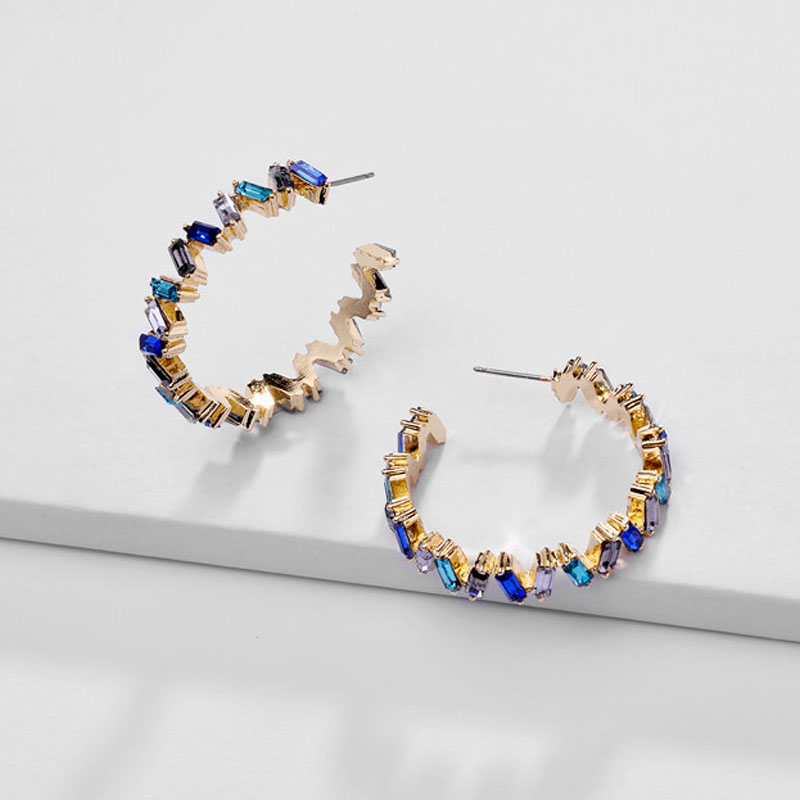 Fashion Ear Jewelry Rainbow Colorful Crystal Earring ZigZag Big Hoop Earrings for Women