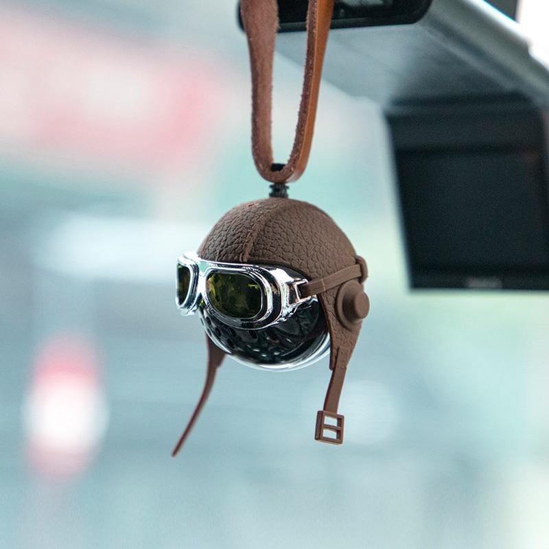 Creative Helmet Car Air Freshener Original Pilot Car Flavoring Stylish Car Perfume Leather Strap Hanging Car Fragrance
