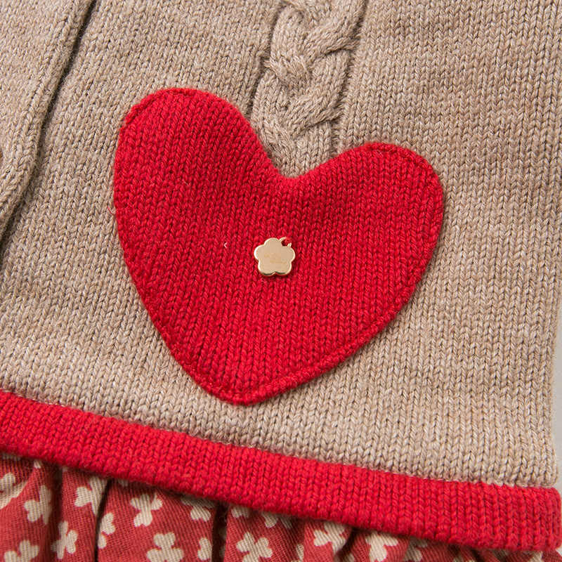 Db11590 데이브 벨라 겨울 아기 소녀의 공주 사랑 꽃 스웨터 드레스 어린이 파티 드레스 아이 유아 로리타 옷