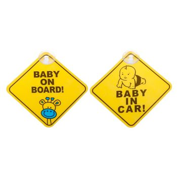 BABY ON BOARD Bamboo Charcoal Suck Warning Mark Sign Sticker Car Window Safety Notice Board image