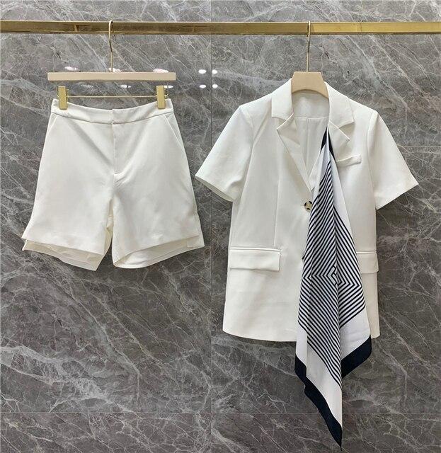 Fashion Two Pieces Sets Women Elegant Scarf Short Sleeve Notched Blazer Jacket+Pocket Mini Shorts  Suits OL Female Outfits 5