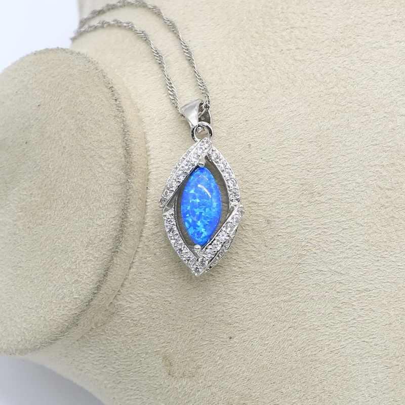 Bộ Trang Sức Bạc Nữ Cao Cấp Bạc 925 Xanh Dương Nhẫn Nữ Opal Bông Tai Mặt Dây Chuyền Bộ Trang Sức Thời Trang
