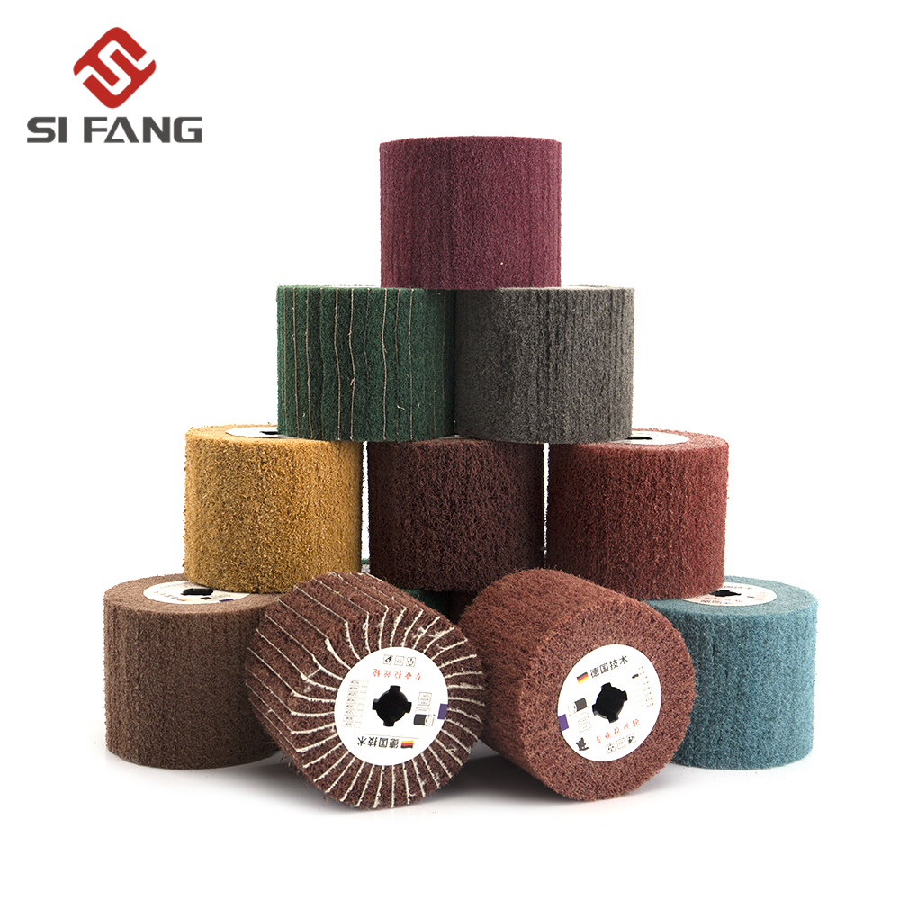 Non-woven Nylon Abrasive Flap Wheel Brush Wire Drawing Polishing Burnishing Drum  Wheel For Stainless Steel