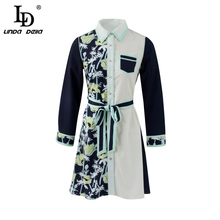 LD LINDA DELLA Runway Fashion Autumn Mini Short Dresses Women's Long Sleeve Floral Printed Bow Tie Elegant Casual Shirt Dress цена и фото