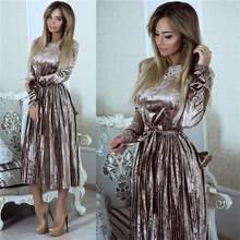 Vintage Long Sleeve Velvet Dress Women 2021 Bodycon Belted Midi Dress Spring Pleated Party Dresses Vestidos Robe Femme SL35