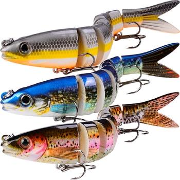 "1pc 8 Sections Fishing Lure 0.689oz-19.54g/13.28cm-5.23"" Swimbait Fishing bait 6# Hook Fishing Tackle HS014"