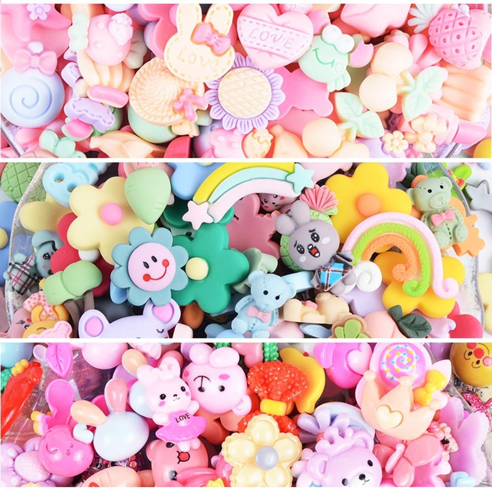 100pcs Cute Cartoon Lucky Bag Handmade Resin Earring Pendant DIY Decoration Making Slime Clay Accessories Toys