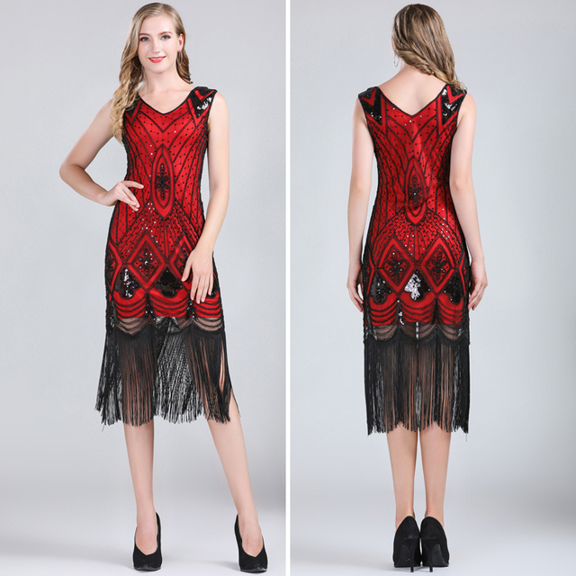 Red 1920s style dress for women