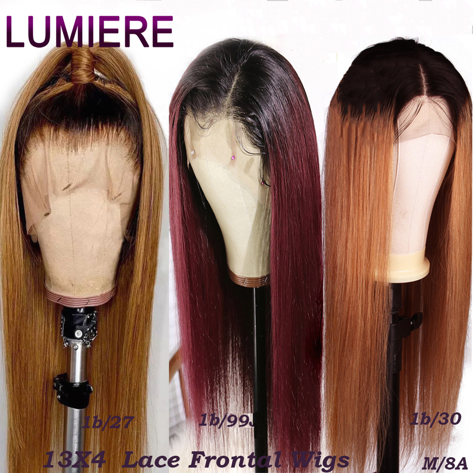 Lumiere 1B/27 Ombre Color Lace Front Human Hair Wigs With Baby Hair 13*4 Straight Brazilian Blonde Lace Wig For Women 1B/30/99J