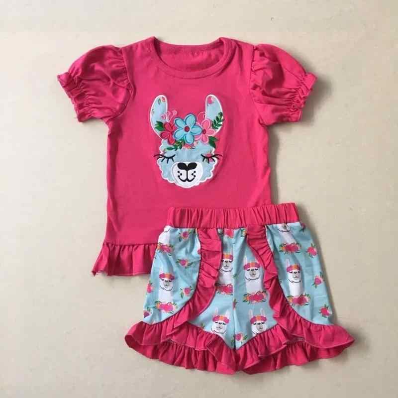 Di colore rosa caldo manica corta animale sveglio del bambino di estate della ragazza set
