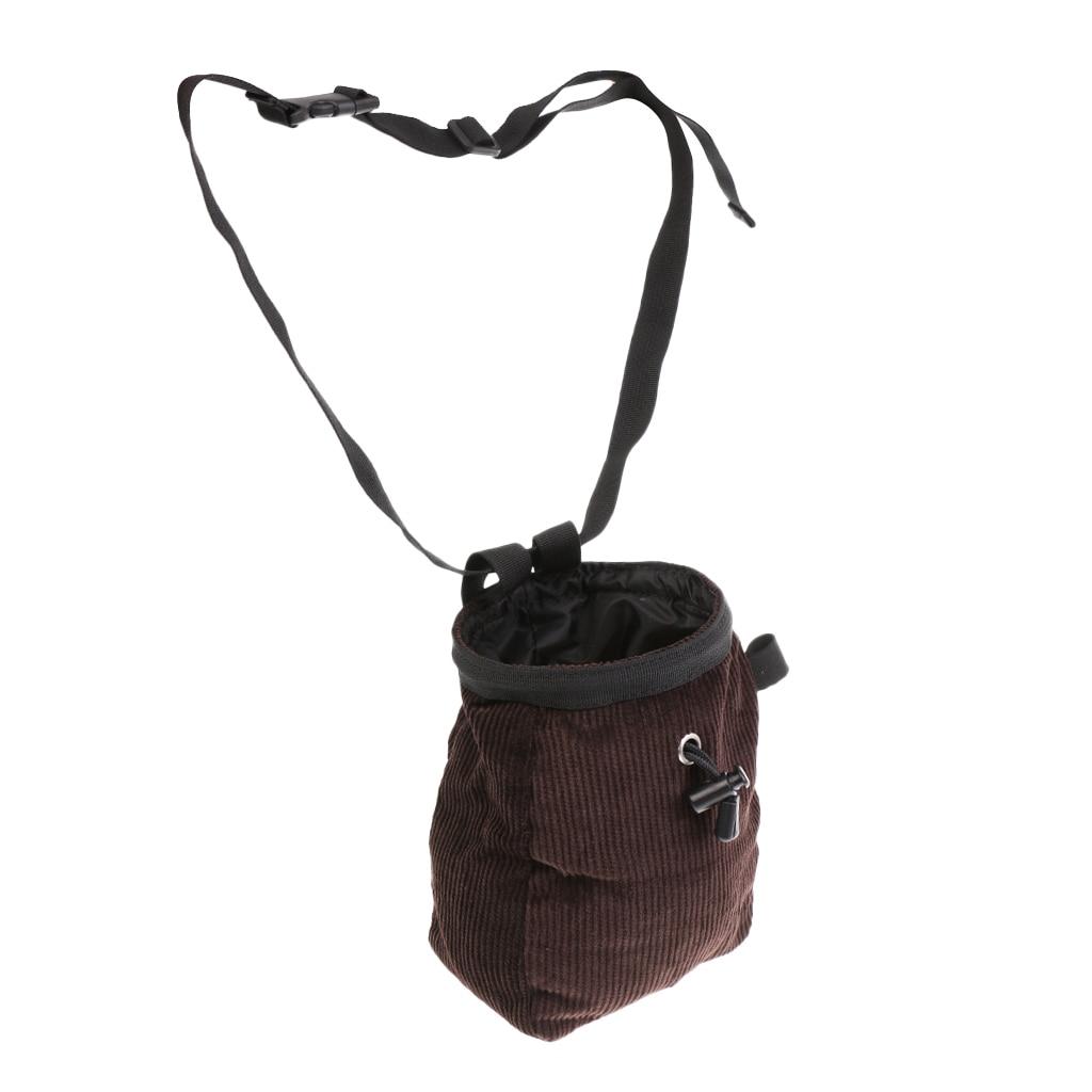Rock Climbing Chalk Bag With Waist Belt & Drawstring Closure - Coffee