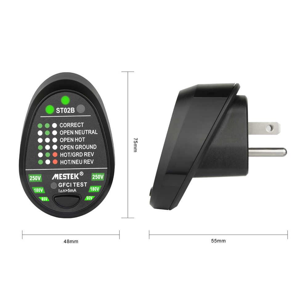 MESTEK ST02 Socket Testers Voltage Test Socket Detector EU/US/UK Plug Ground Zero Lijn Plug Polariteit Fase check Breaker Finder
