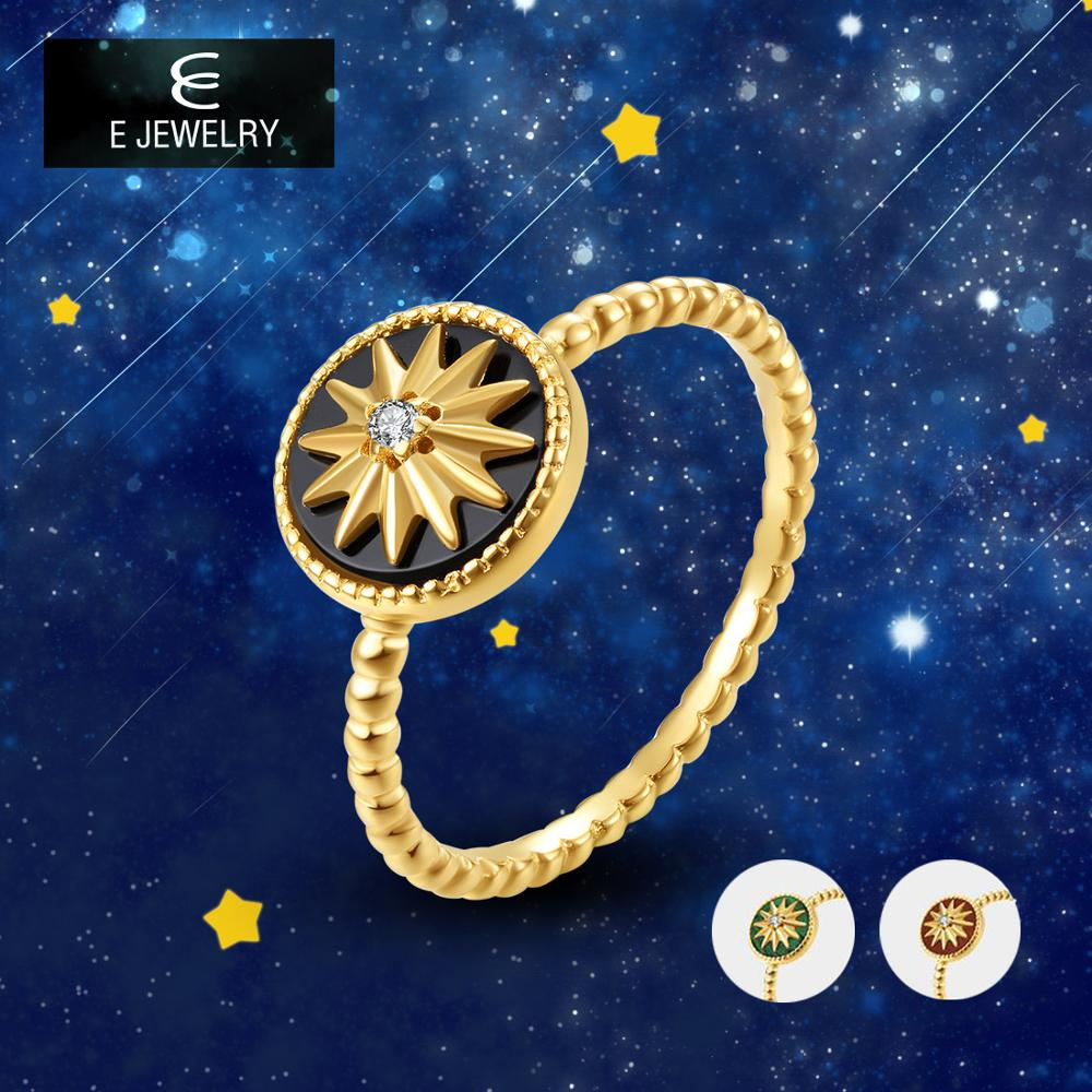 E Real 925 Sterling Silver Star Rings for Women 18K Gold Plated 3 Color Agate Gemstone Twist Circle Finger Ring Fine Jewelry