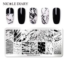 NICOLE agenda 1 pièce Rectangle ongle estampage modèle fleur Animal géométrie amour saint valentin Nail Art estampage plaque