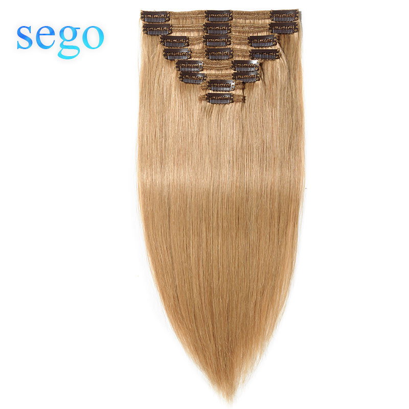 """SEGO 10""""-24"""" 110g-170g Straight Clip In Human Hair Extensions 8pcs/set Hair Clip Ins Double Weft Non-Remy Human Hair Clips"""