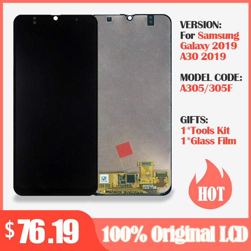 Original AMOLED <font><b>LCD</b></font> Display for <font><b>SAMSUNG</b></font> GALAXY <font><b>A30</b></font> A305/DS A305F A305FD A305A Display with Touch <font><b>Screen</b></font> Digitizer Assembly image