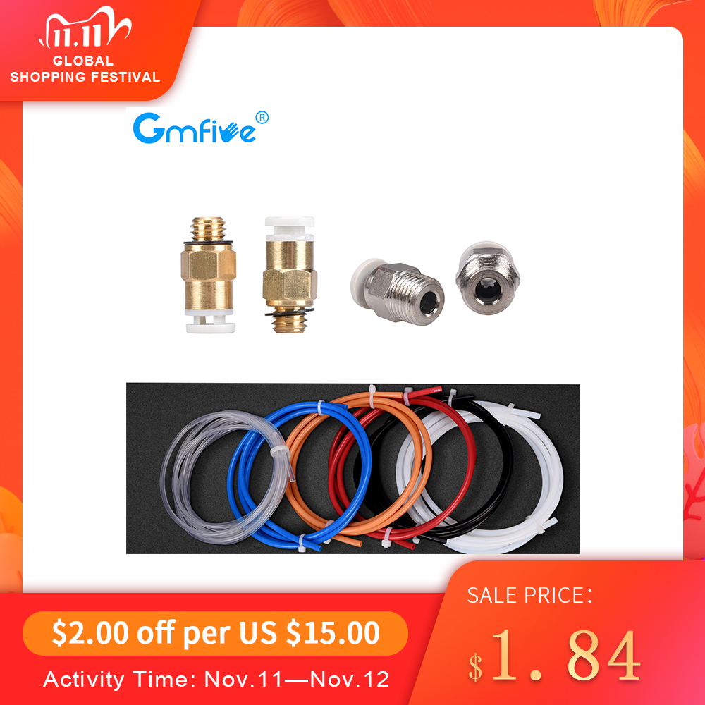 GmFive PC4-M6 Pneumatic Connectors+1M PTFE Teflonto Tube 2*4MM For Ender 3 Upgrade Kits 1.75mm Bowden Extruder 3d Printer Parts