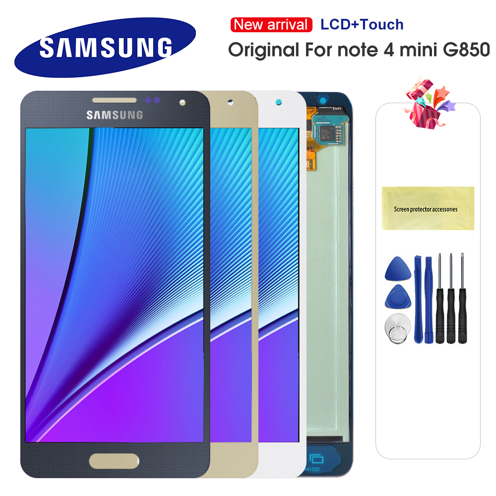 100% Original <font><b>LCD</b></font> <font><b>For</b></font> <font><b>Samsung</b></font> <font><b>Galaxy</b></font> Note 4 Mini <font><b>Alpha</b></font> G850F G850M <font><b>LCD</b></font> Display Touch Screen Digitizer Assembly Repaclement Parts image