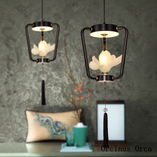 New Chinese Restaurant Lotus Chandelier Cafe Modern Creative Single-Head LED Pink Flower Chandelier Free Shipping