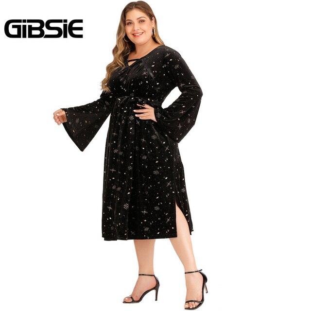 GIBSIE Autumn winter V-neck Print Velvet Dress Women Plus Size High Waist Long Sleeve Belt Midi Dresses Ladies Vintage Black 3
