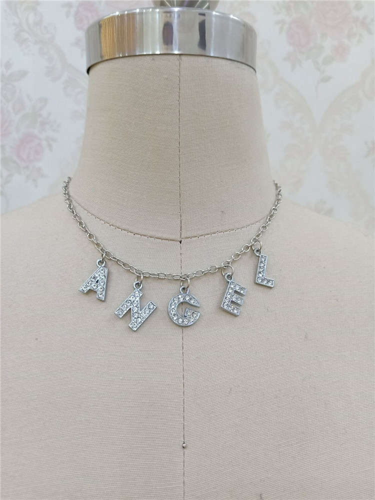 H57d59f6eb54b4af7bf4187cc57162869Y - Harajuku Letter Crystal Angel Necklace Women Jewelry Couple Gift Necklace BABY HONEY Choker Femme Punk Collier Drop Ship