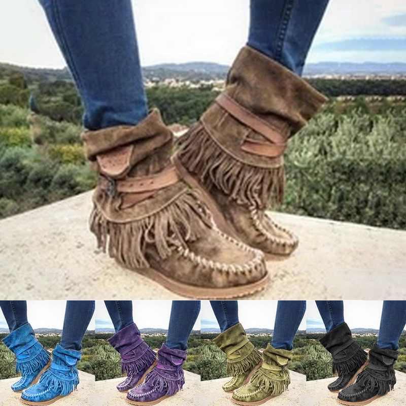 Vrouwen Mode Retro Laarzen Dames Britse Stijl Frosted Kwastje Korte Laarzen Dames Suède Platte Casual Laarzen 2019 Nieuwe
