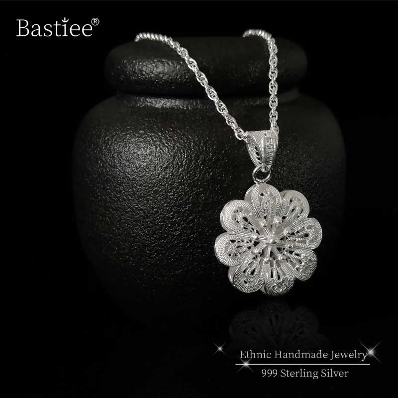 Flower 999 Sterling Silver Pendant Chakra Necklace Women Vintage Pendants Boho Jewelry Luxury Gift Ethnic Handmade Hollow Out