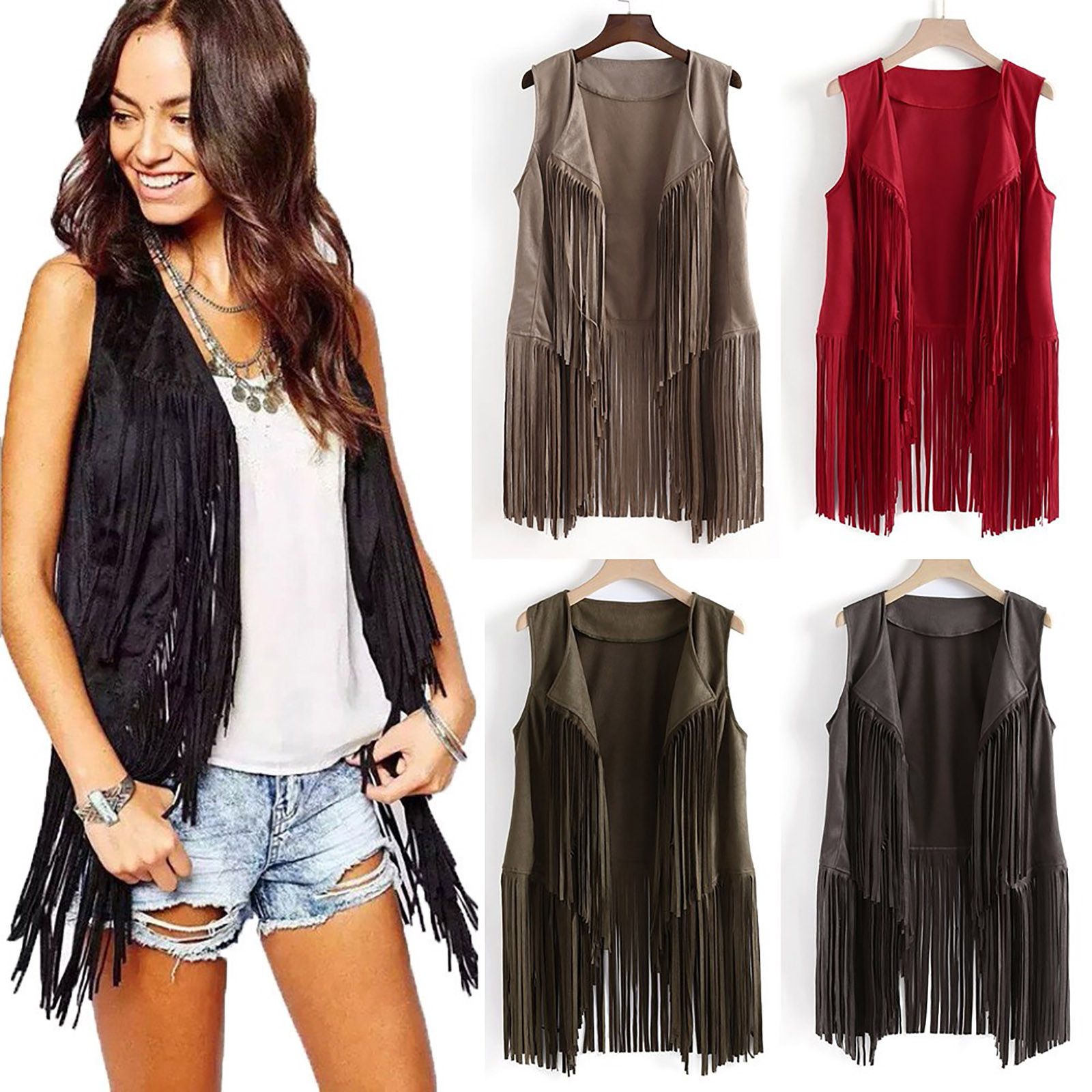 Fashion Women Autumn Winter Solid Colors Suede Ethnic Sleeveless Tassels Fringed Vests Jacket Cardigan Coats Outerwear Casaco#G3