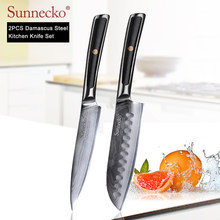 SUNNECKO 2PCS Kitchen Knives Set Damascus Japanese VG10 Core Steel Sharp Blade G10 Handle High Quality Santoku Utility Knife(China)