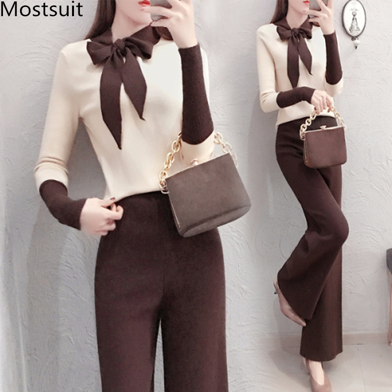 2019 Autumn Winter Knitted 2 Piece Sets Outfits Women Lace-up Sweater Pullover And Wide Leg Pants Suits Elegant Korean Sets 21
