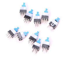 10pcs 6Pin Push Tactile Power Micro Switch Self lock On/Off button Latching switch 7*7MM(China)