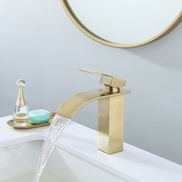 Basin Faucets Bathroom Sink Faucet Brushed Gold Single Handle Hole Faucet Basin Taps Grifo Lavabo Wash Hot Cold Waterfall Faucet