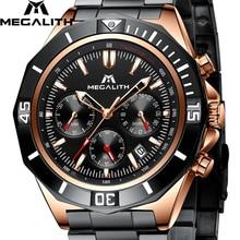 все цены на Relogio Masculino MEGALITH Watch Men Sports Waterproof Military Quartz Clock Stainless Steel Luminous Chronograph Wrist Watches онлайн
