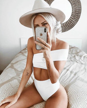 4-Color Hot Selling WOMENS Seperated Swimwear Solid Color  Irregular Shoulder High-waisted Bikini 9112