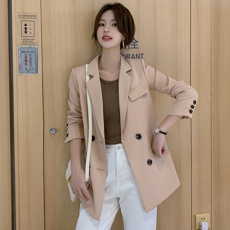 Women Blazer Jacket OL 2020 Spring Coat Casual Double Breasted Notched Collar Female Loose Jackets Fashion Suits Outwear