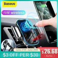 Baseus רכב טלפון מטען Stand 15W אלחוטי טעינה הר עבור Iphone סמסונג Mobilephone תשלום מחזיק אוטומטי לשקע אוויר תמיכה
