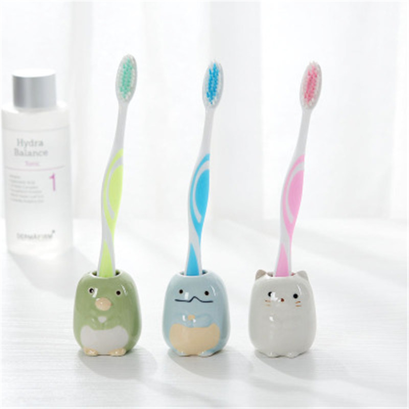 Multifunctional Cute Ceramic Toothbrush Holder Bathroom Shower Simple Tooth Brush Stand Shelf Bath Accessories image