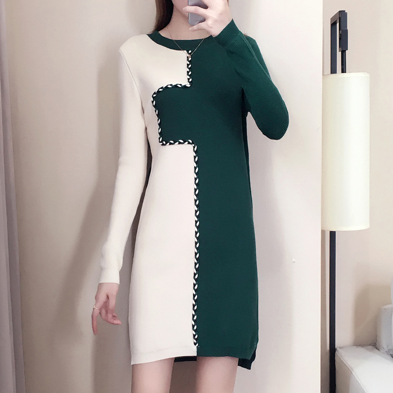 2018 Autumn New Style Mid-length Long Sleeve Knit Base Contrast Color Slit Sweater Women's Loose-Fit Pullover Dress Winter