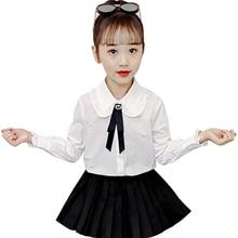 Girls Shirt White Blouse School Children's Bow Solid for Autumn Winter