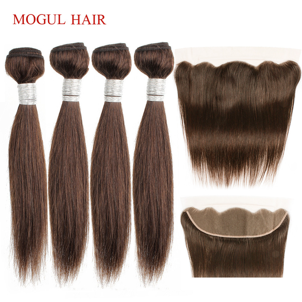 MOGUL HAIR 50g/pc 4/6 Bundles With 4x13 Lace Frontal 10-16 Inch Color 2 Dark Brown Straight Brazilian Non Remy Human Hair Weave