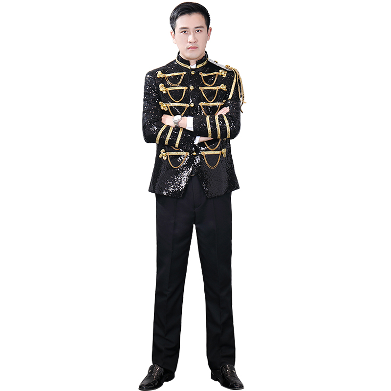 Trendy Men's Palace Prom Army Black Suit Jacket Black Sequins With Fringed Epaulets Single Breasted Palace Cosplay Costume