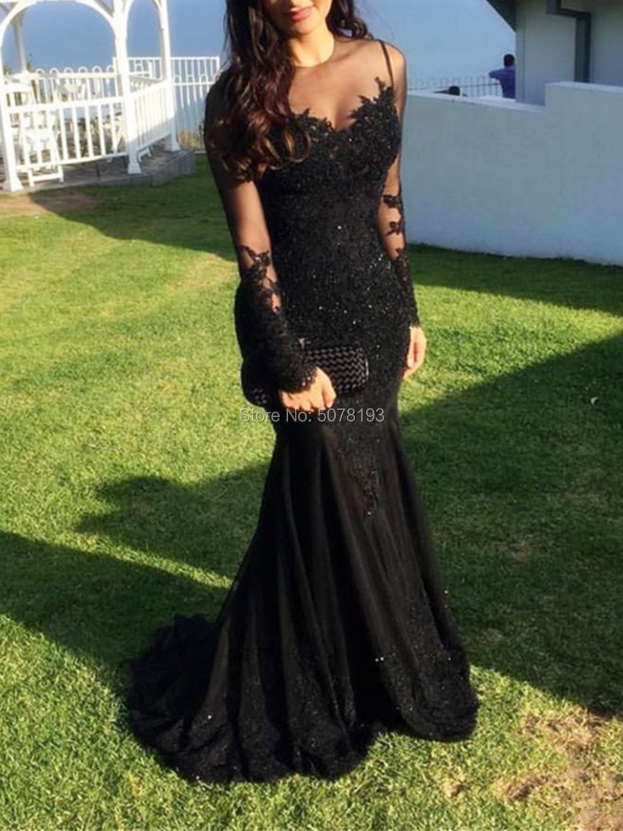 E2 Black Fashion O Neck Natural Long Sleeves Mermaid/Trumpet Floor Length Evening Dresses/Women Gowns Appliques Free Shipping
