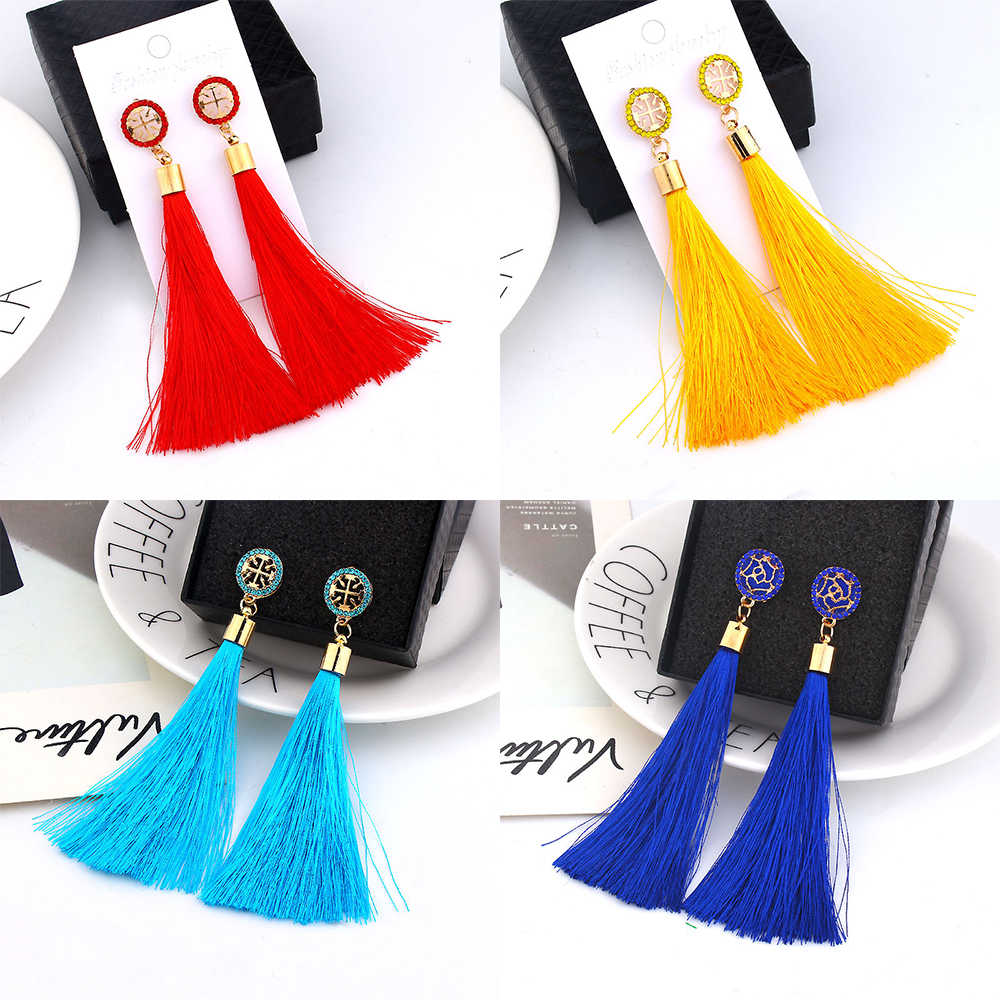 Bohemian Tassel Crystal Long Drop Earrings for Women Cotton Silk Fabric Fringe Earrings 2019 Fashion Woman Jewelry
