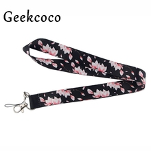 Romantic Cherry blossoms keychain Accessories Safety Breakaway Mobile Phone ID Badge Holder keys Strap Neck lanyard Camera J0528