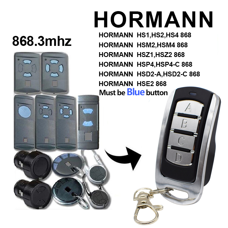 HORMANN 868 MHz Garage Door Remote Control Hormann HSM2, HSM4 868 Garage Door Opener Command Gate Control NEW 2020