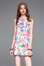 Baogarret New Fashion Designer Summer Dress Womens Sleeveless Multicolor Floral Print Short Dresses Casual Elegant