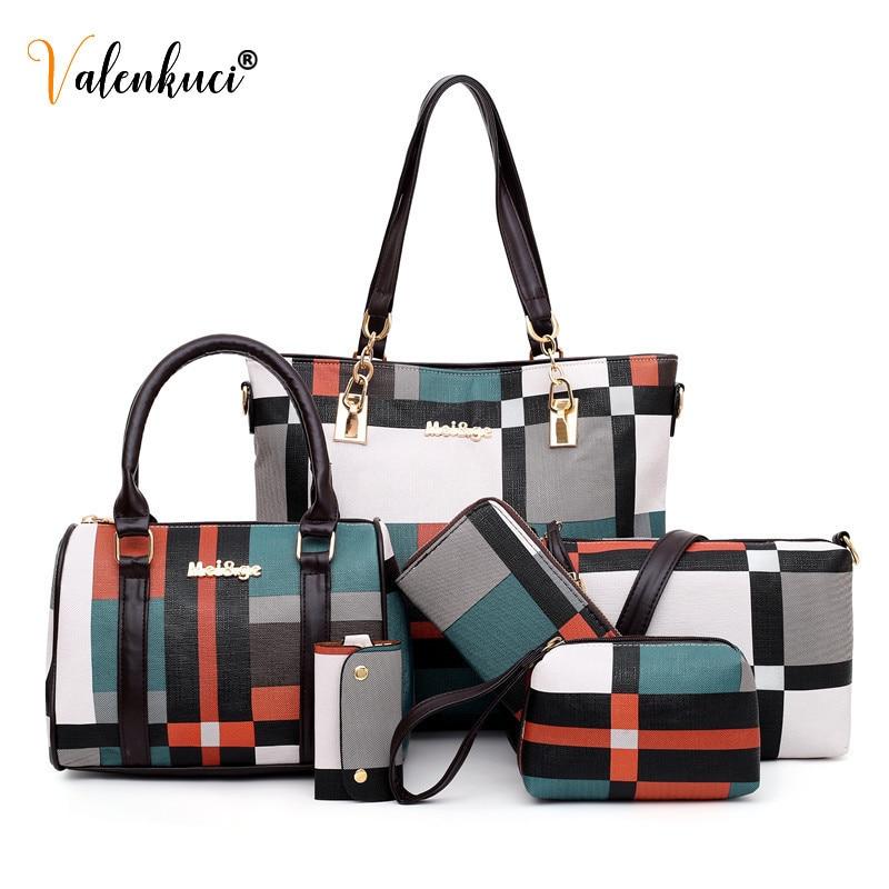 New Fashion Luxury Handbags New 6 PCS Set Women Plaid Colors Handbag Female Shoulder Bag Travel Shopping Ladies Crossbody Bag 2