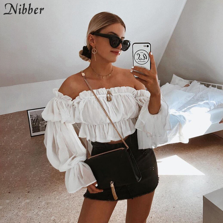 Nibber French Romance Sexy Off Shoulder Crop Tops 2019 Autumn Fashion Office Ladies Casual Long Sleeve Elegant Tee Shirts Mujer
