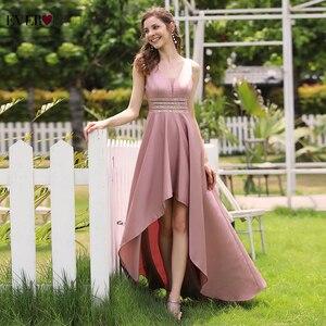 Image 3 - Sparkle סאטן ערב שמלות אי פעם די EP00877 נצנצים סימטרי כפול V צוואר שרוולים סקסי פורמליות שמלות Abendkleider